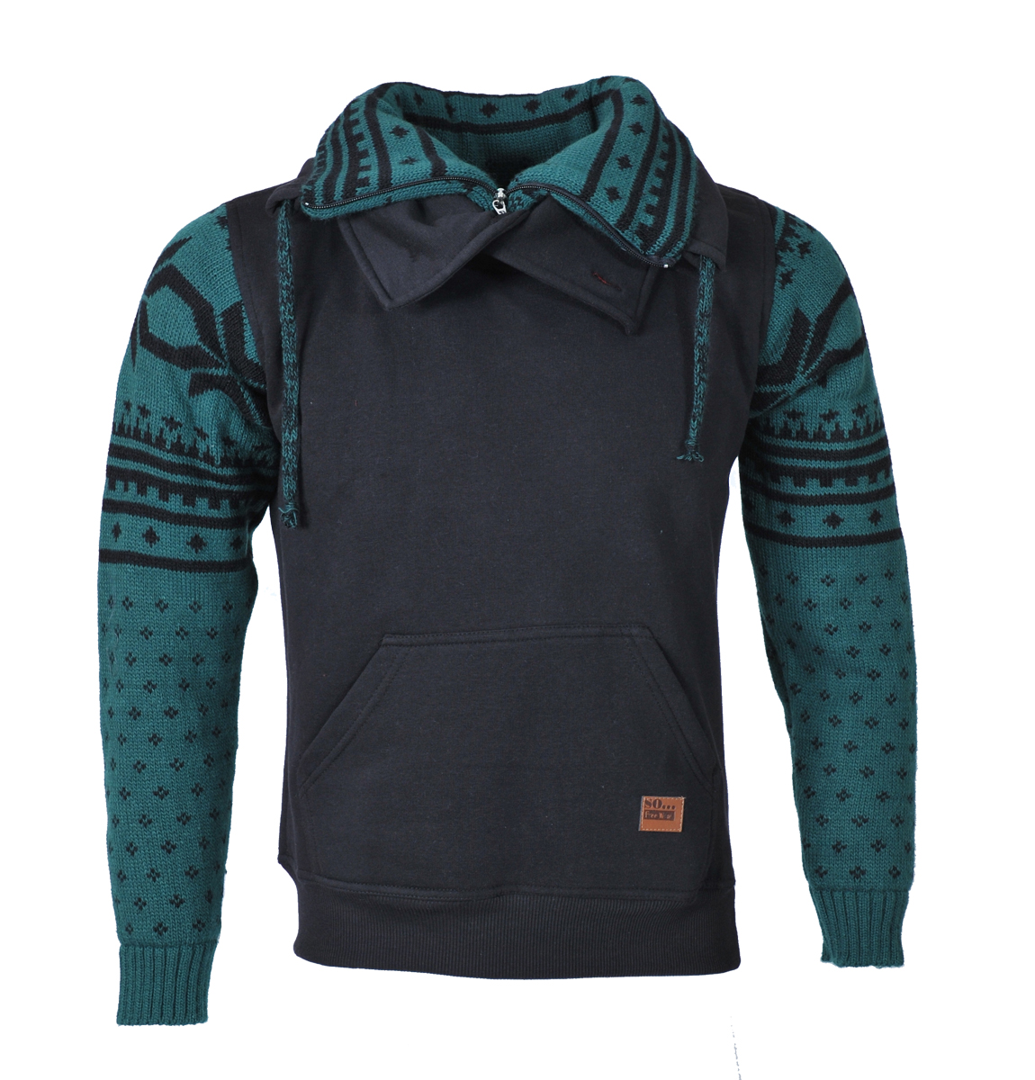 Ανδρικό Πλεκτό Φούτερ-Μαύρο αρχική ανδρικά ρούχα φούτερ