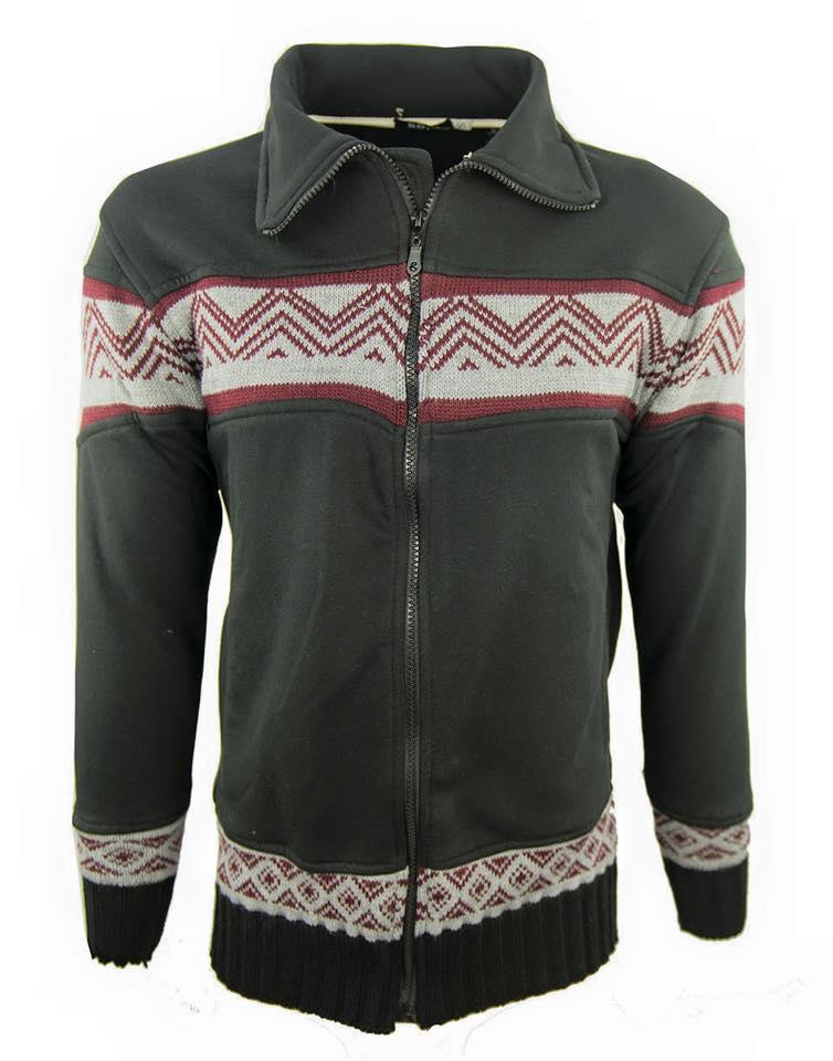 Ανδρική Ζακέτα Με Πλεκτή Φάσα-Μαύρο αρχική ανδρικά ρούχα ζακέτες