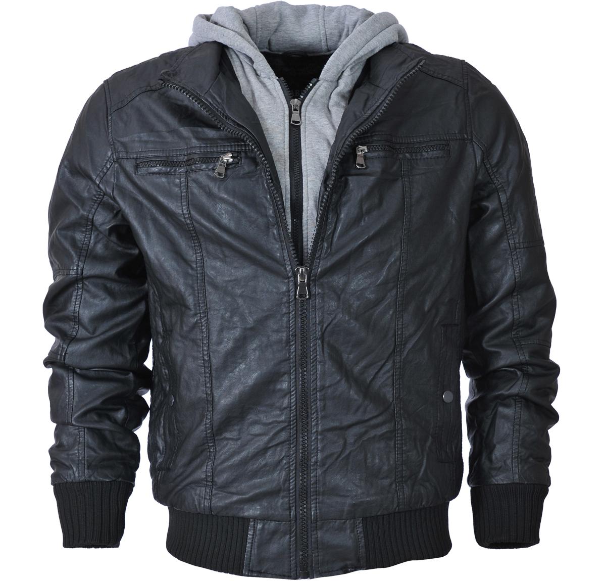 Ανδρικό Μπουφάν Δερματίνη Black-Μαύρο αρχική ανδρικά ρούχα μπουφάν