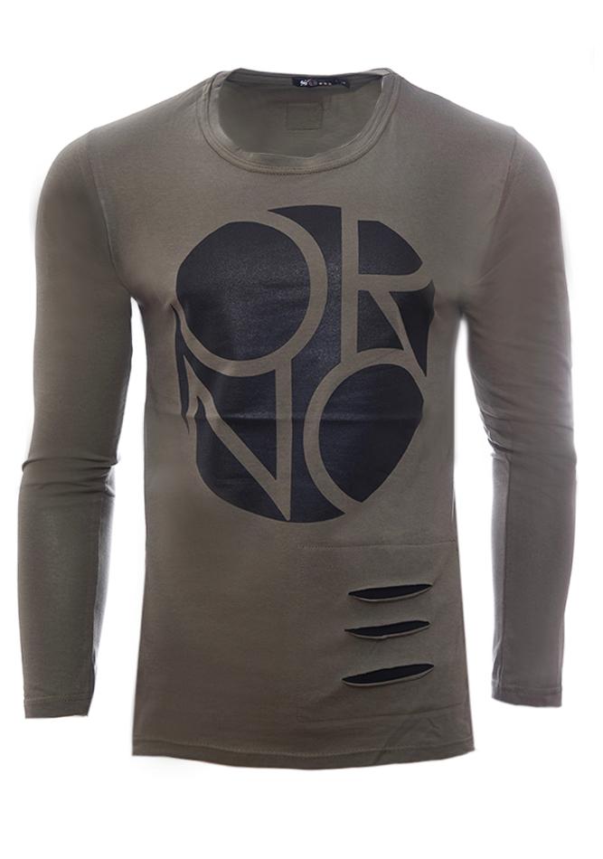 Ανδρική Μπλούζα Cut Olive Green αρχική ανδρικά ρούχα επιλογή ανά προϊόν μπλούζες