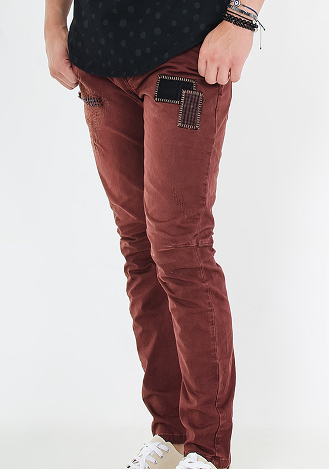 Aνδρικό Chino Maroon Patch αρχική ανδρικά ρούχα παντελόνια chinos
