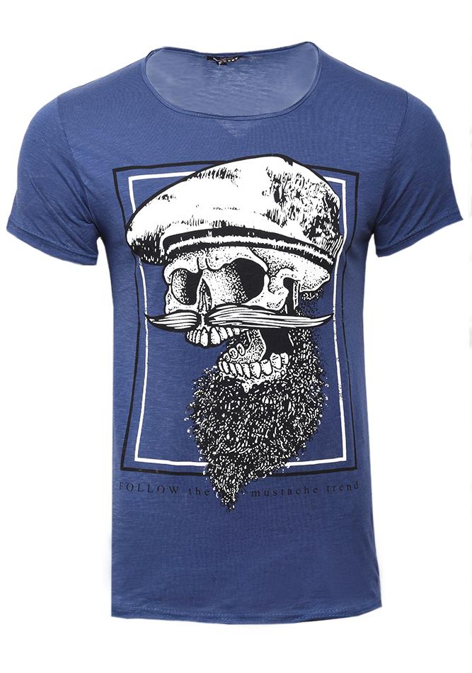 Ανδρικό T-shirt Mustache D.Blue αρχική ανδρικά ρούχα επιλογή ανά προϊόν t shirts