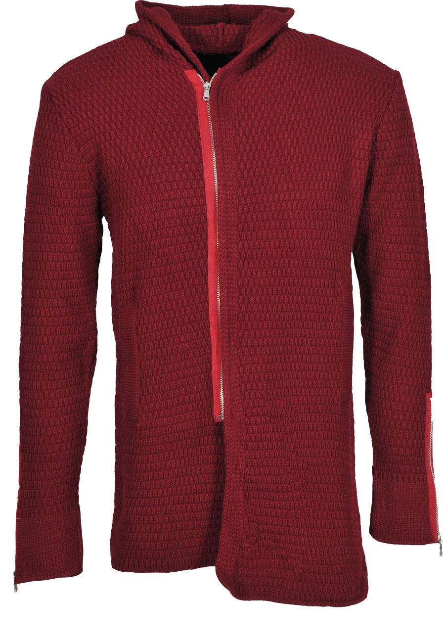 Πλεκτή Ζακέτα Ζen Zip-Μπορντό αρχική ανδρικά ρούχα ζακέτες