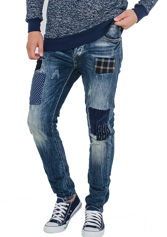 Aνδρικό Jean Poua Patch αρχική ανδρικά ρούχα παντελόνια jeans