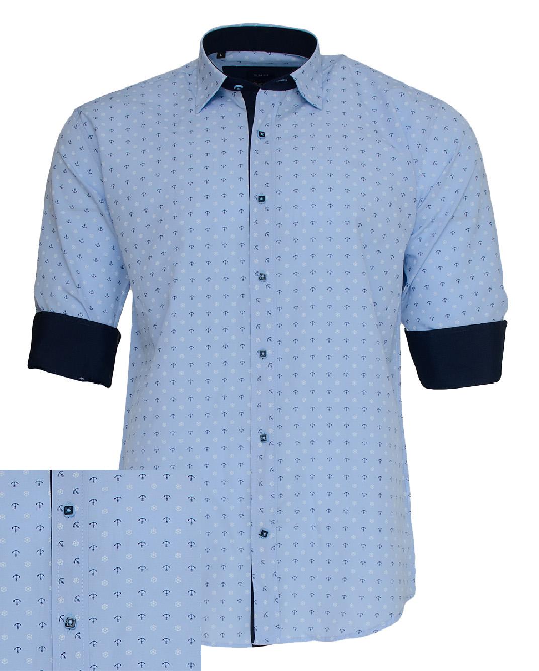 Ανδρικό Πουκάμισο So Fashion Ciel Anchor-Σιέλ αρχική ανδρικά ρούχα πουκάμισα