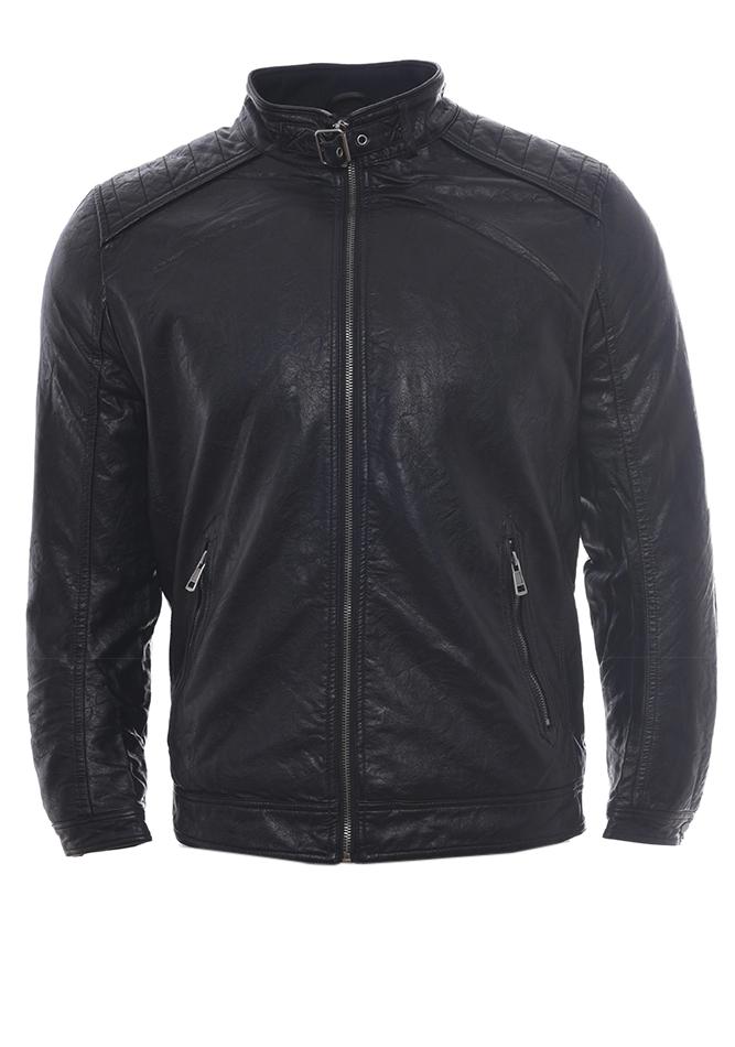 Ανδρικό Μπουφάν Δερματίνη Men Black αρχική ανδρικά ρούχα επιλογή ανά προϊόν μπουφάν