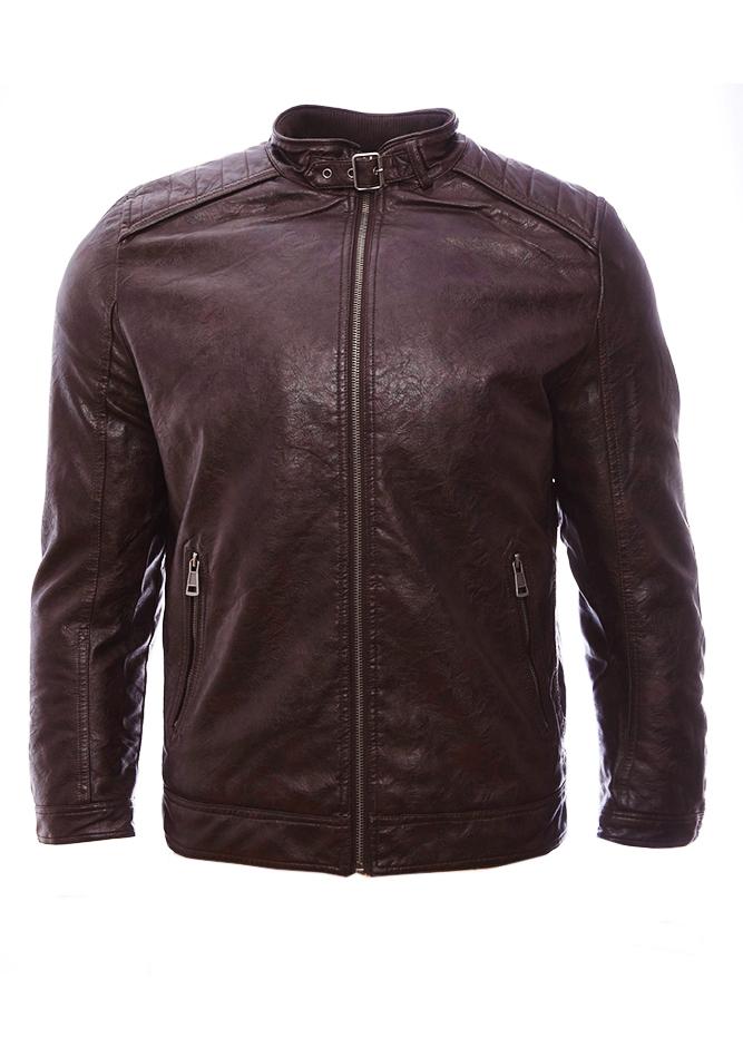 Ανδρικό Μπουφάν Δερματίνη Men Dark Brown αρχική ανδρικά ρούχα επιλογή ανά προϊόν μπουφάν