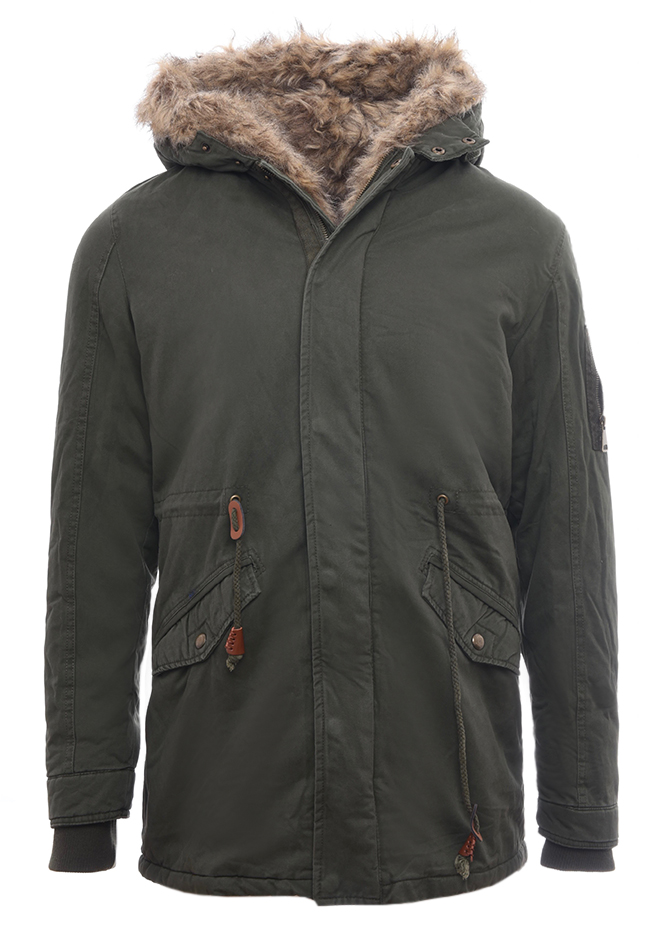 Ανδρικό Μπουφάν Parka Natural Olive Green dc09fe1c072