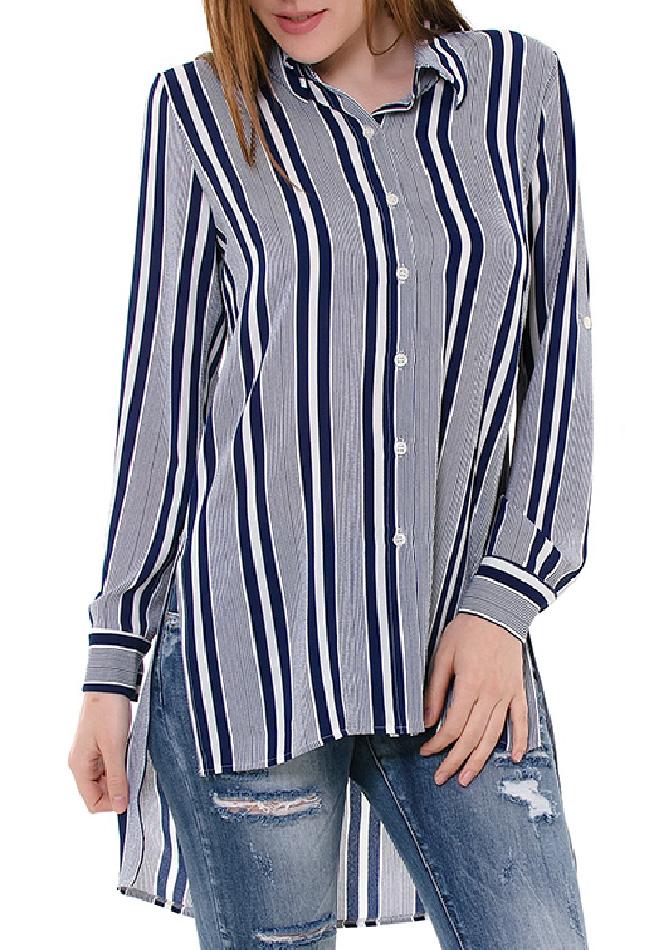 Πουκαμίσα Long Stripes αρχική γυναικεία ρούχα πουκάμισα