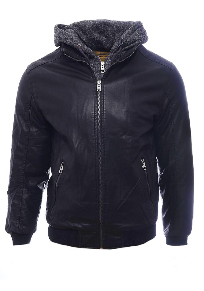 Ανδρικό Μπουφάν Δερματίνη Fade Black αρχική ανδρικά ρούχα επιλογή ανά προϊόν μπουφάν