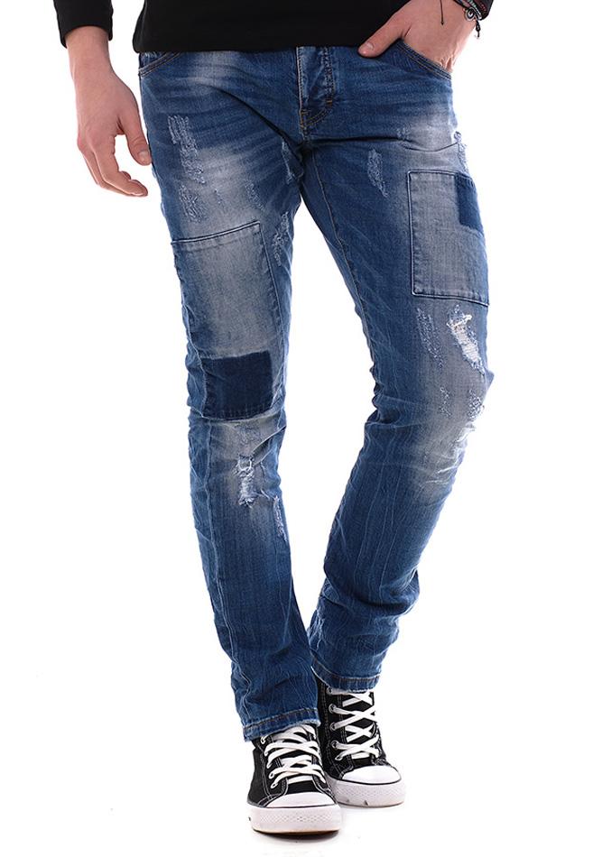 Ανδρικό Jean Παντελόνι Enos Square Scratch αρχική ανδρικά ρούχα παντελόνια jeans
