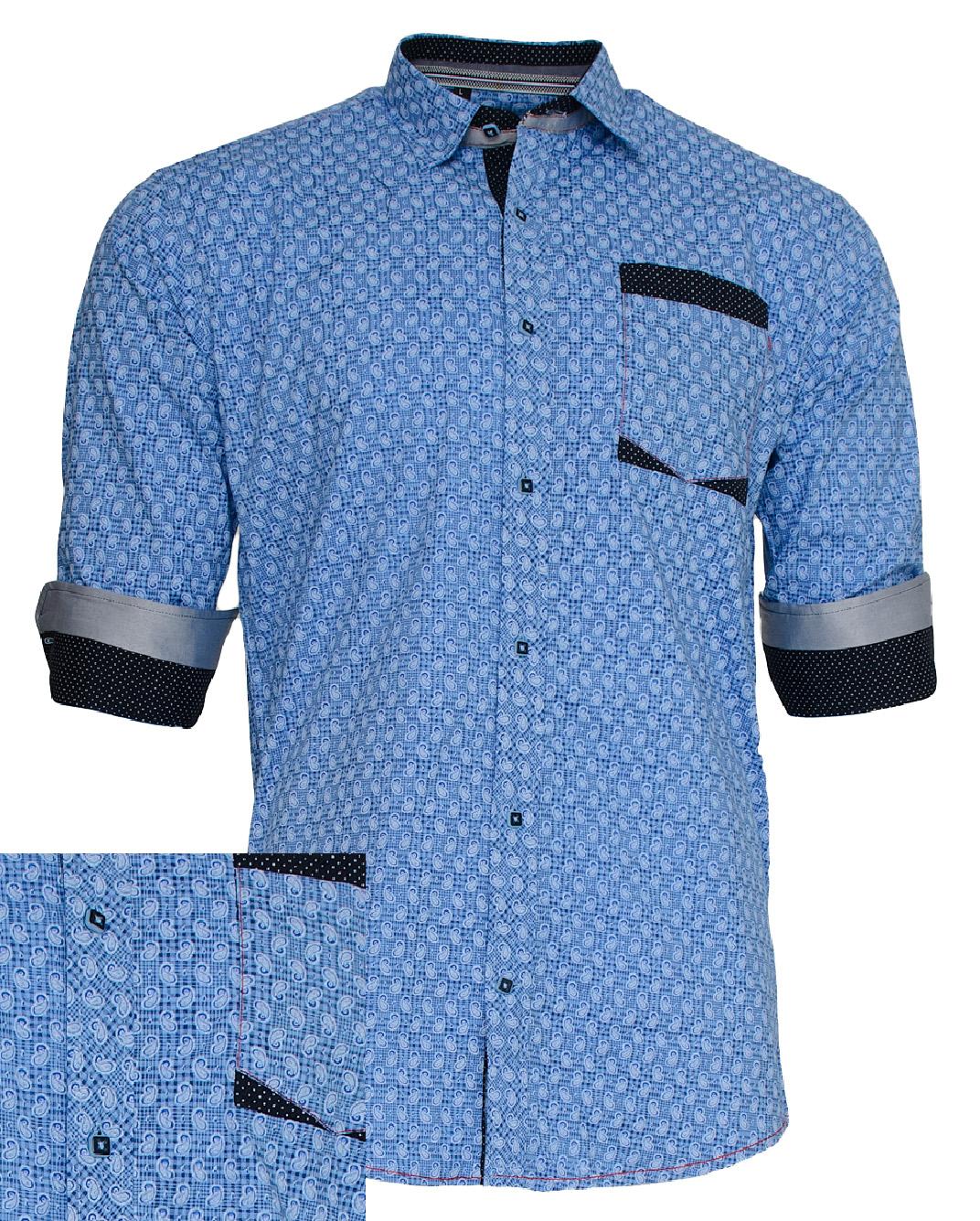 Ανδρικό Πουκάμισο So Fashion Βlue Grey-Μπλε αρχική ανδρικά ρούχα πουκάμισα