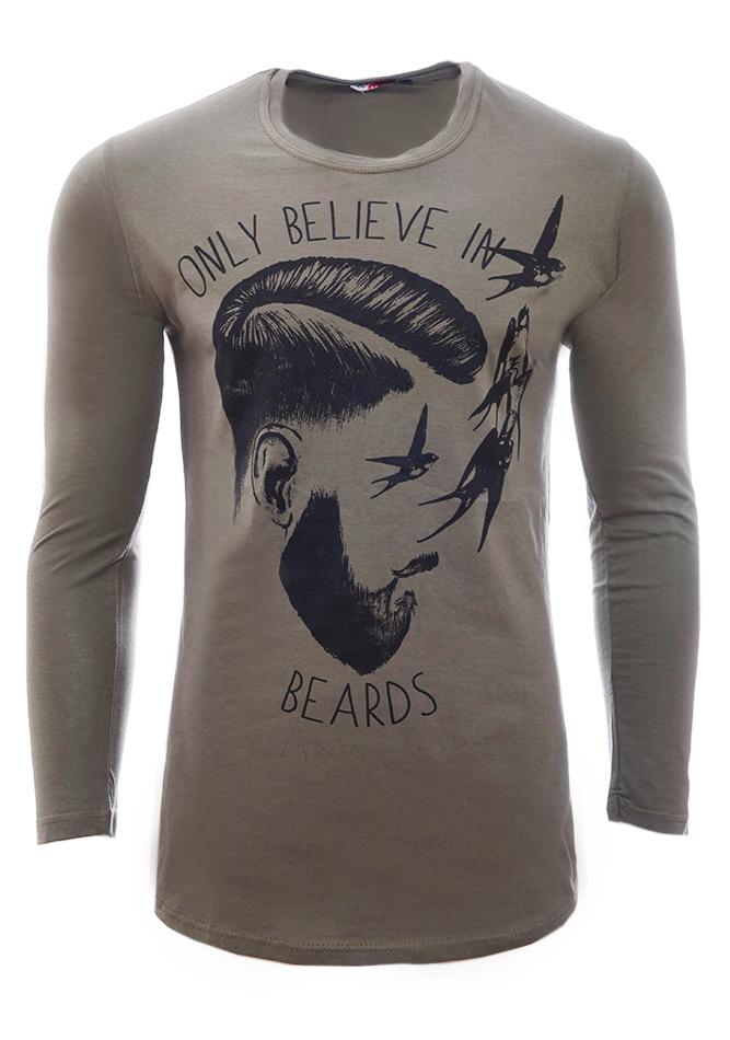 Ανδρική Μπλούζα Beards Olive Green αρχική ανδρικά ρούχα επιλογή ανά προϊόν μπλούζες