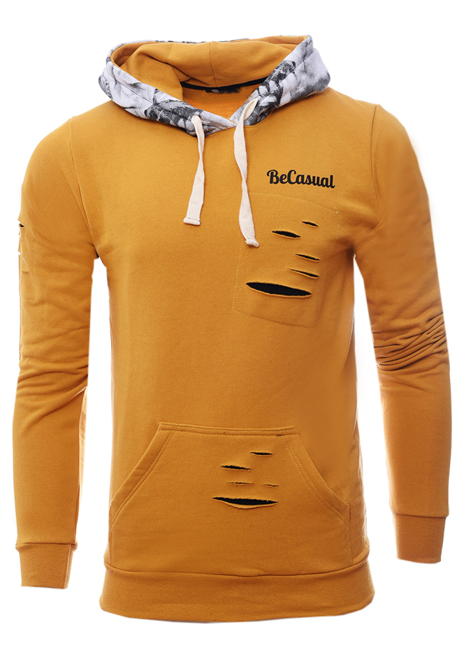 Ανδρικό Φούτερ Hood Mustard αρχική άντρας μπλούζες φούτερ