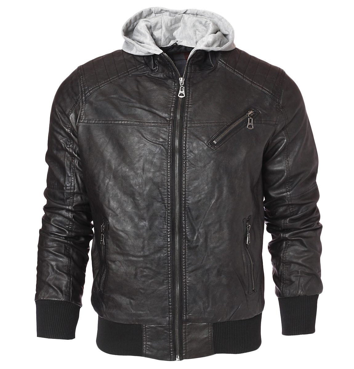 Μπουφάν Δερματίνη Oxygen Black-Μαύρο αρχική ανδρικά ρούχα μπουφάν