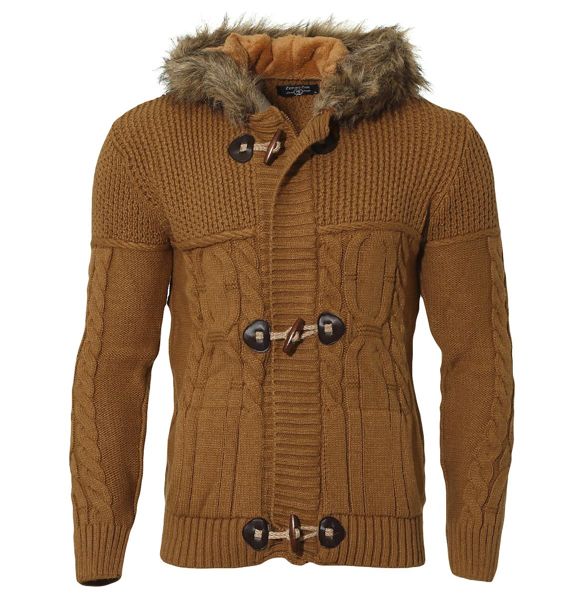 Πλεκτή Ζακέτα Zen Fur Hood αρχική ανδρικά ρούχα ζακέτες