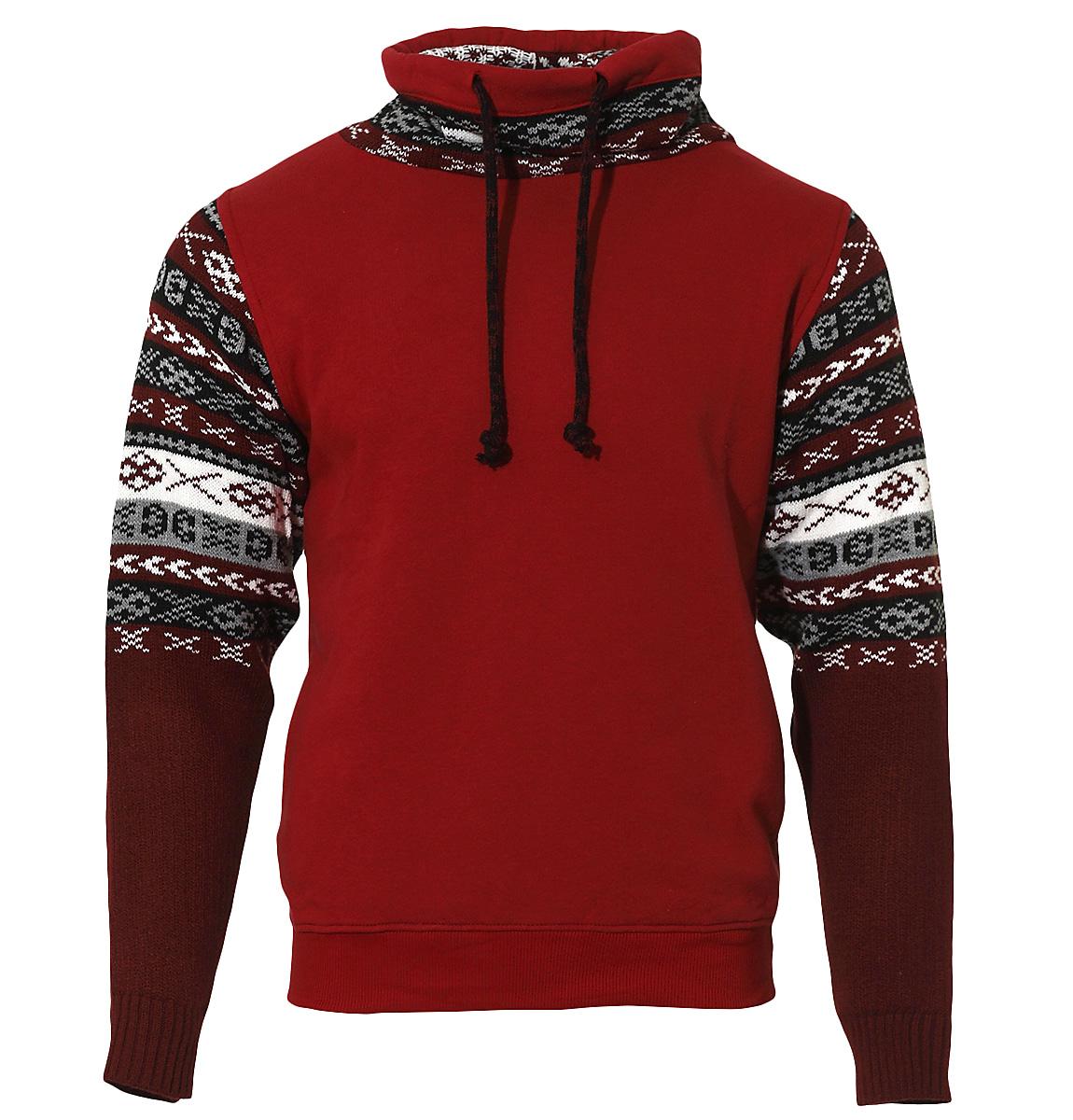 Ανδρικό Φούτερ Knitwear Sleeves-Μπορντό αρχική ανδρικά ρούχα φούτερ
