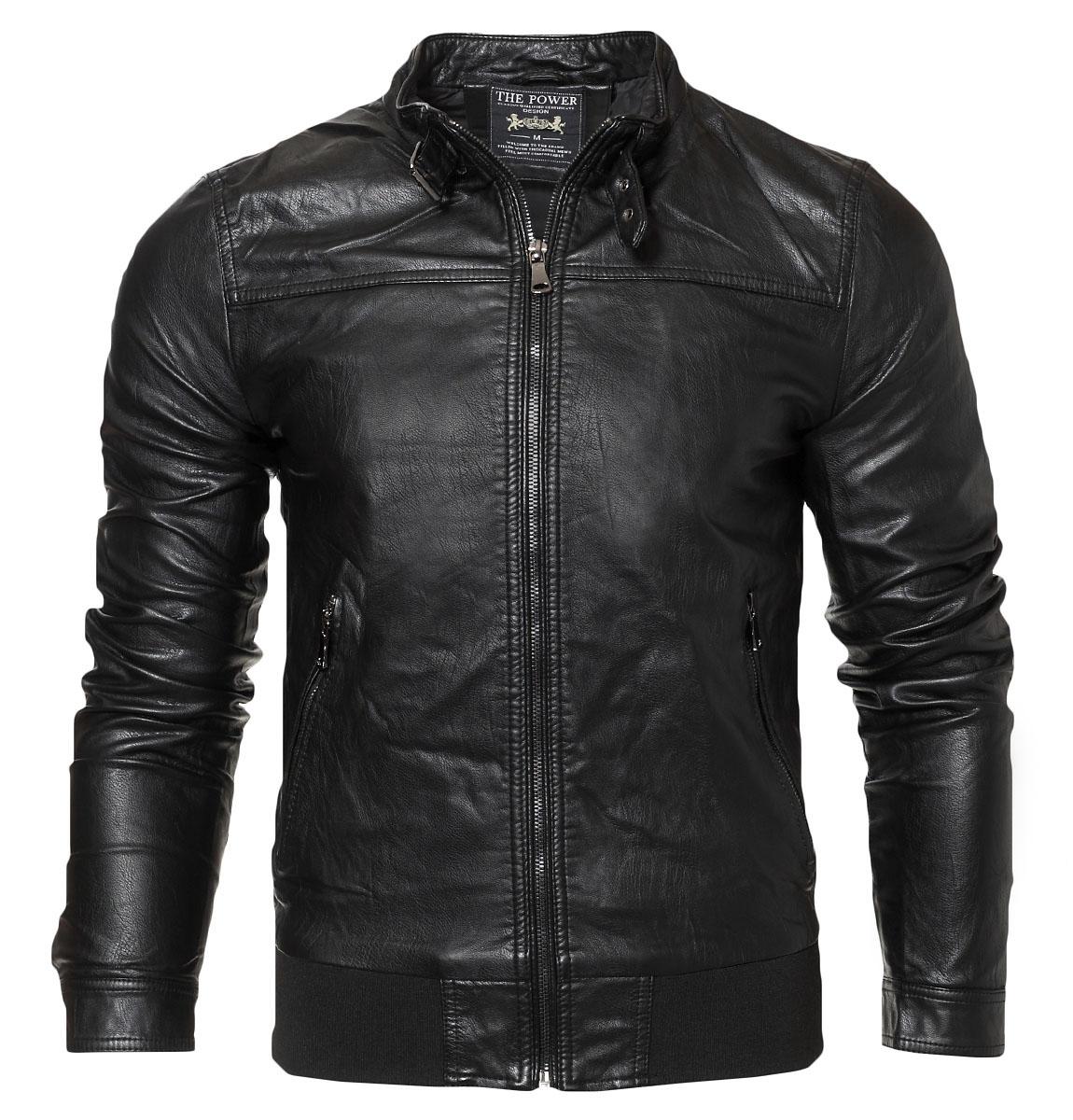 Ανδρικό Μπουφάν Δερματίνη Black Button αρχική ανδρικά ρούχα μπουφάν