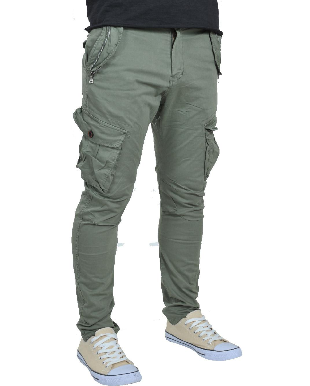 Ανδρικό Chino Παντελόνι Olive Green Cargo-Λαδί αρχική ανδρικά ρούχα παντελόνια παντελόνια chinos