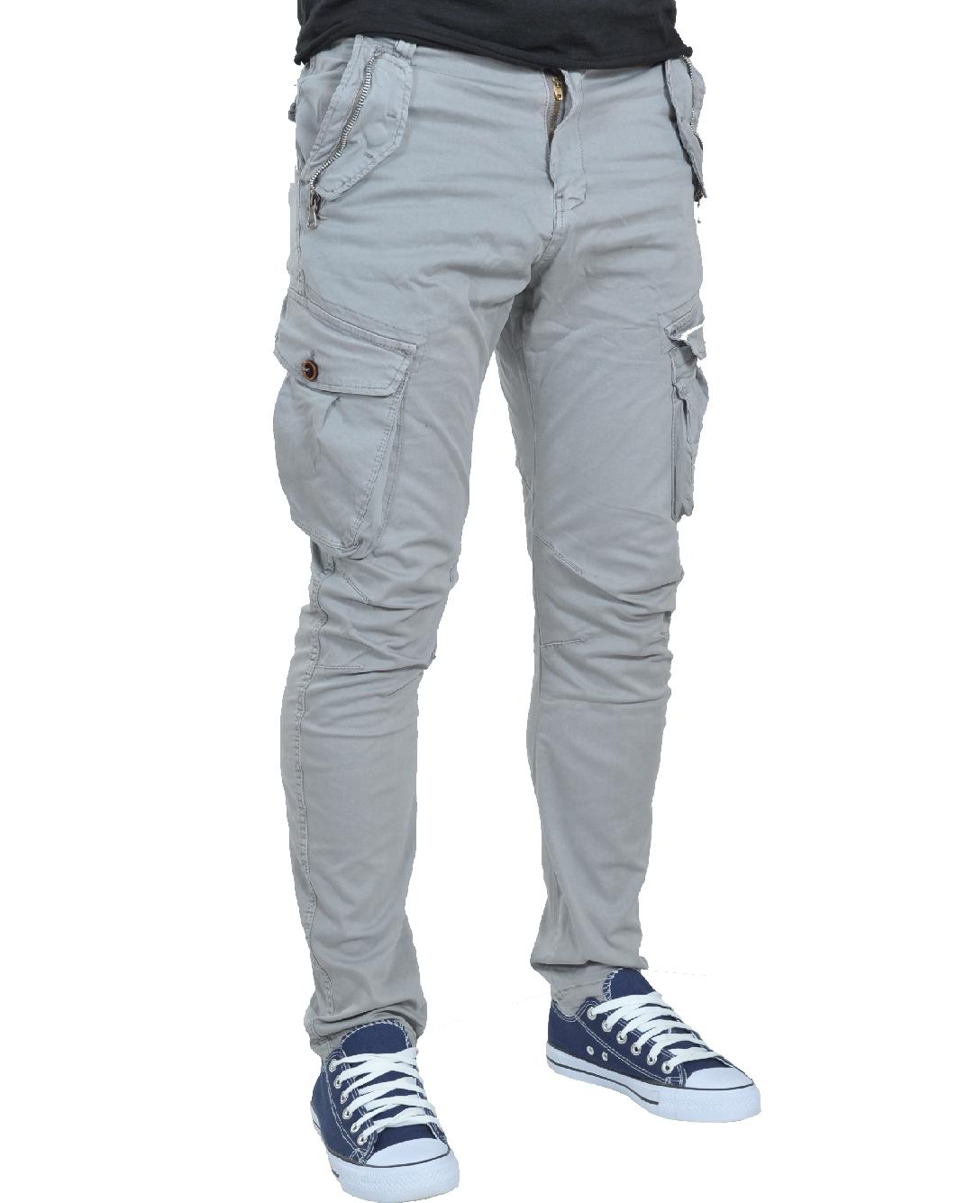 Ανδρικό Chino Παντελόνι Cargo Beige-Γκρι αρχική ανδρικά ρούχα παντελόνια παντελόνια chinos