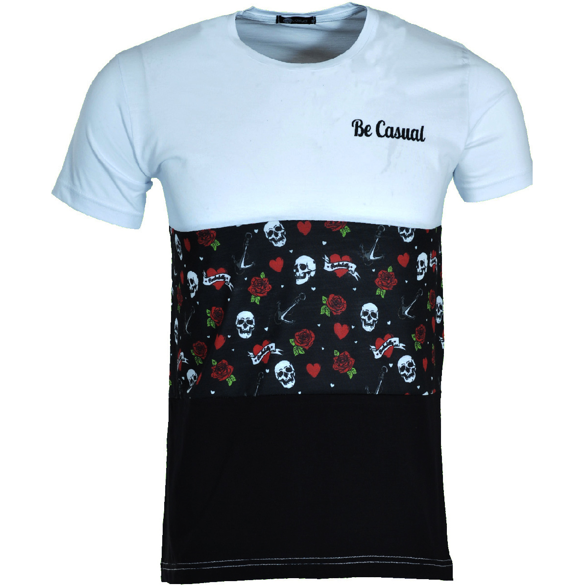Ανδρικό Τ-shirt Becasual Rockabilly-Άσπρο αρχική ανδρικά ρούχα t shirts