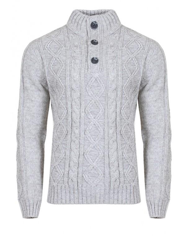 Ανδρική Πλεκτή Μπλούζα Devoured Grey - be-casual.gr 876f5b1f5c2
