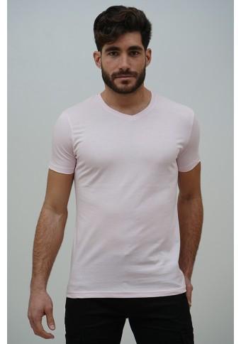 Ανδρικό T-shirt Becasual V Neck Pink