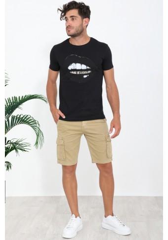Ανδρικό T-shirt Lips Black