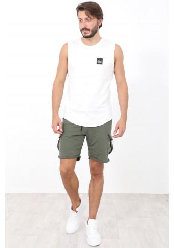 Ανδρικό Αμάνικο T-shirt Lucky Ecru