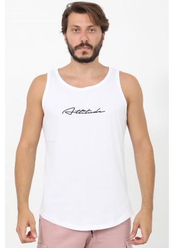 Ανδρικό Αμάνικο T-shirt Run White