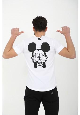 Ανδρικό T-shirt Mickey Back White