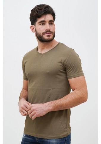 Ανδρικό T-shirt Becasual Olive Green