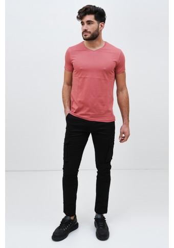 Ανδρικό T-shirt Becasual V Neck Salmon