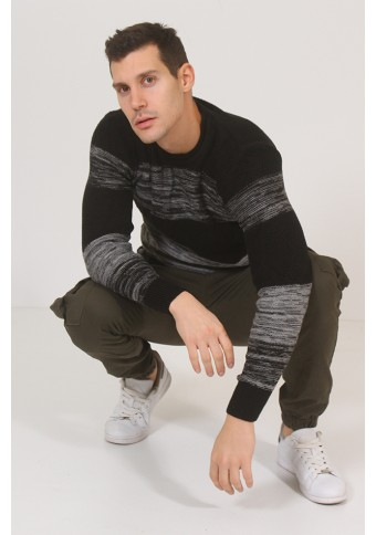 Ανδρική Πλεκτή Μπλούζα Stripes D.Grey