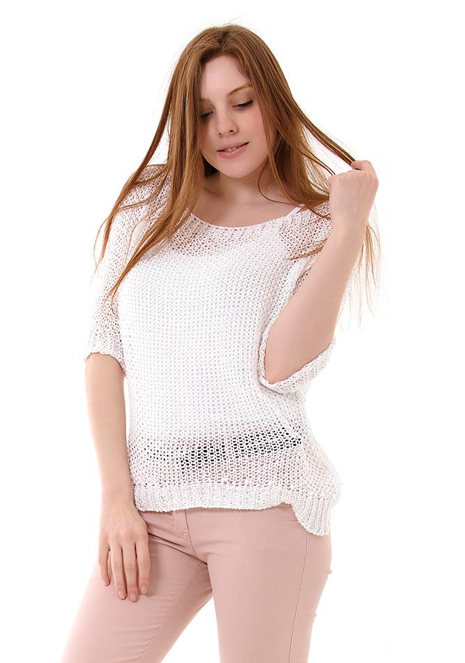 Πλεκτή μπλούζα Moda White αρχική γυναικεία ρούχα μπλούζες   tops