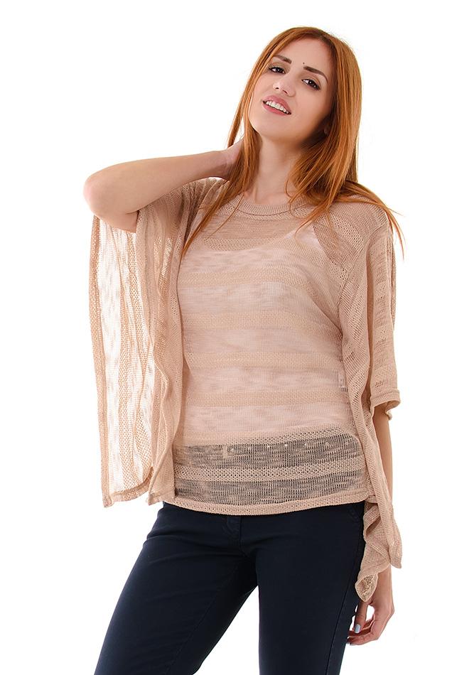 Πλεκτή Μπλούζα Party Brown αρχική γυναικεία ρούχα μπλούζες   tops