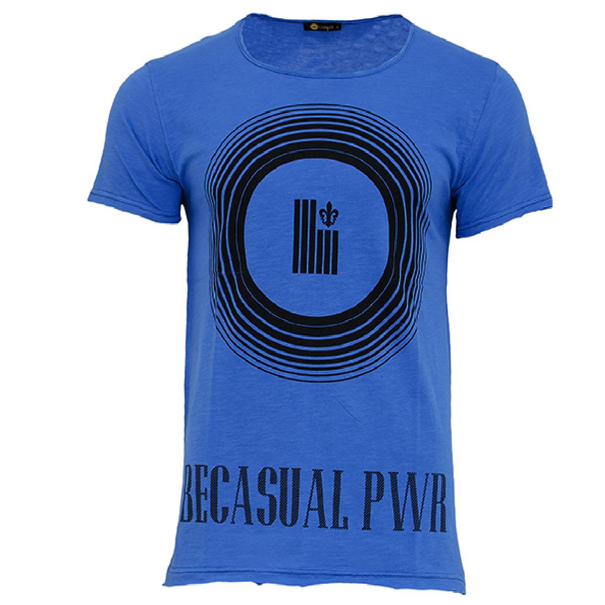 Ανδρικό T-shirt Becasual PWR-Μπλε αρχική ανδρικά ρούχα t shirts