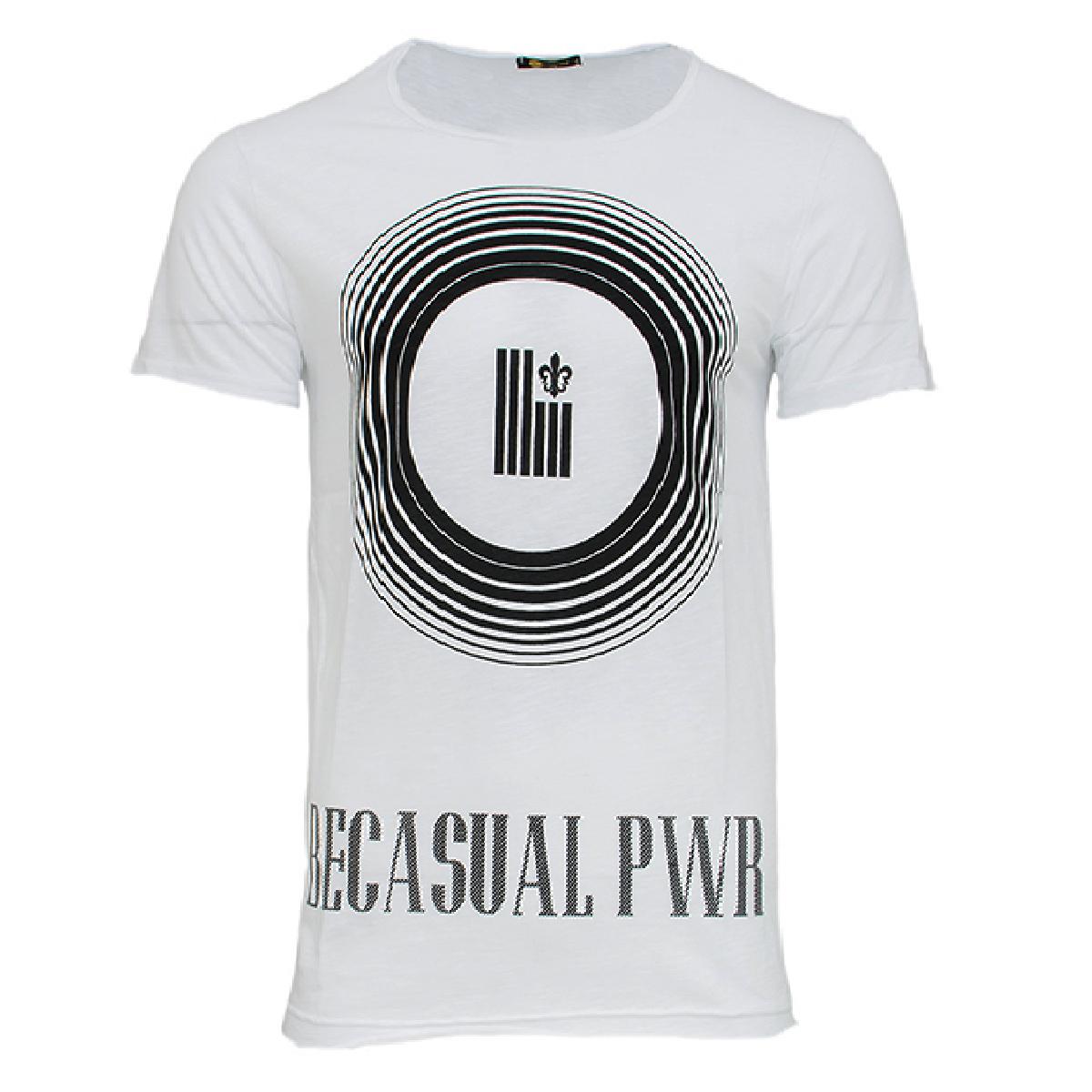 Ανδρικό T-shirt Becasual PWR-Άσπρο αρχική ανδρικά ρούχα t shirts
