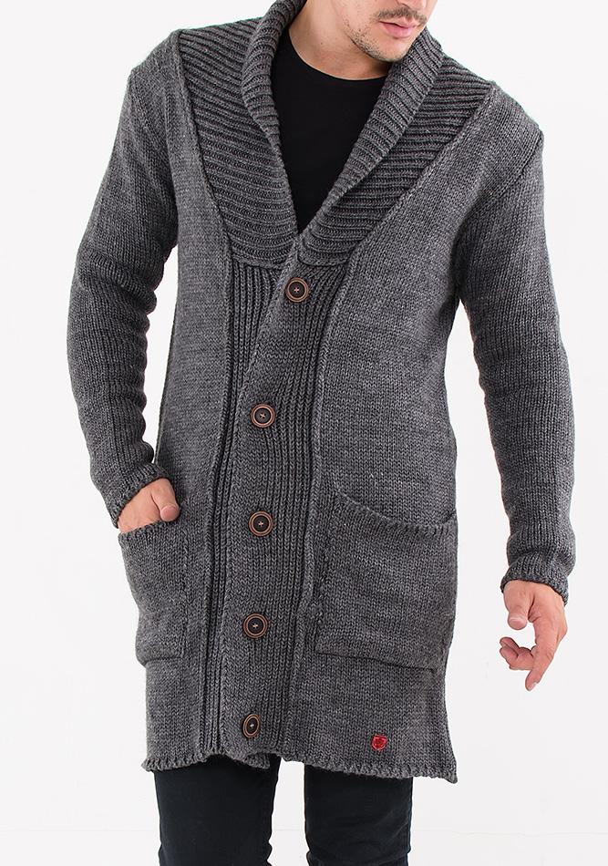 Πλεκτή Ζακέτα Unique Grey αρχική άντρας πανωφόρια μπουφάν ζακέτες