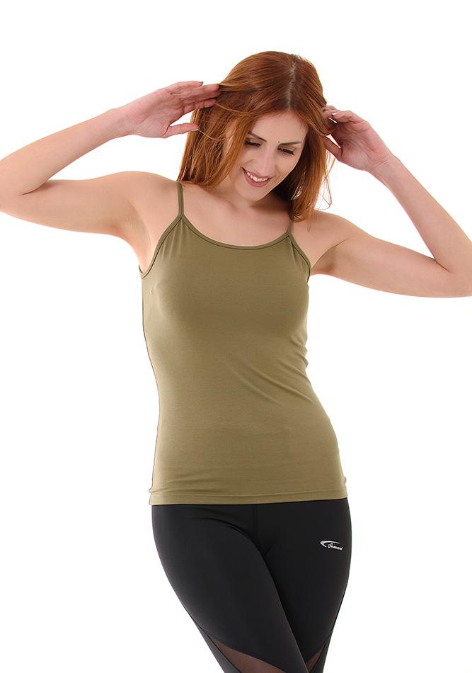 Top Bretelles Khaki αρχική γυναικεία ρούχα μπλούζες   tops