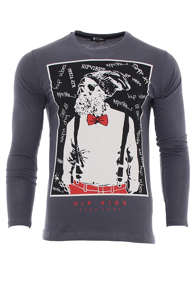 Ανδρική Μπλούζα Hip Kids D.Grey αρχική ανδρικά ρούχα μπλούζες