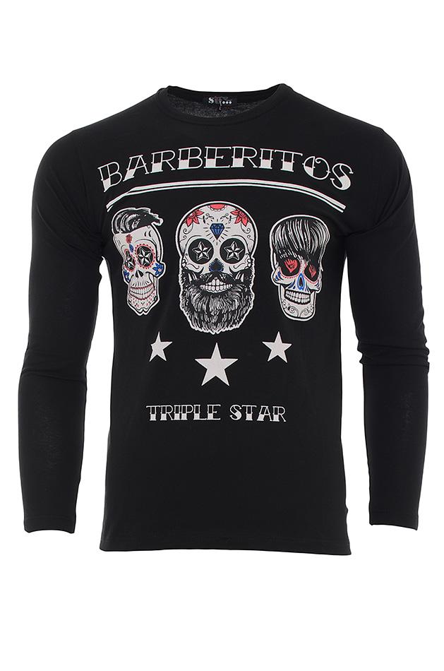 Ανδρική Μπλούζα Barberitos Black αρχική ανδρικά ρούχα μπλούζες