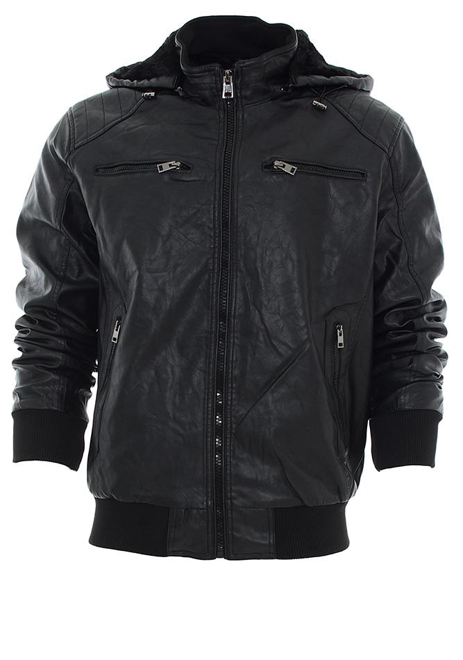 Μπουφάν Δερματίνη Palablu Black αρχική ανδρικά ρούχα μπουφάν