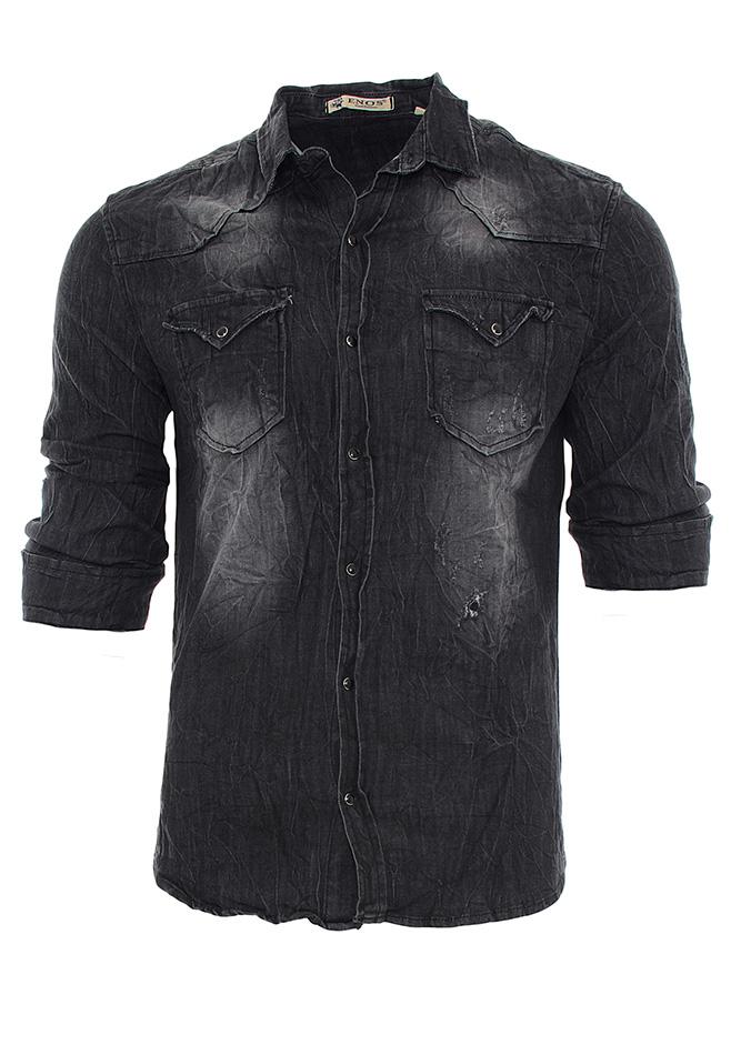 Ανδρικό Πουκάμισο Jean Enos Black αρχική ανδρικά ρούχα πουκάμισα