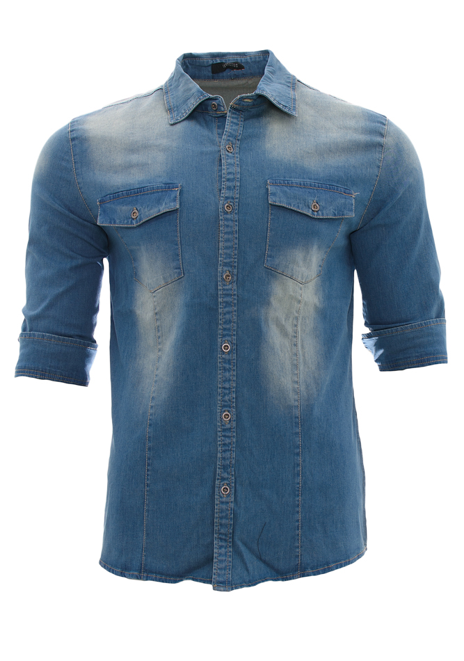 Ανδρικό Jean Πουκάμισο Invictus Blue αρχική ανδρικά ρούχα πουκάμισα