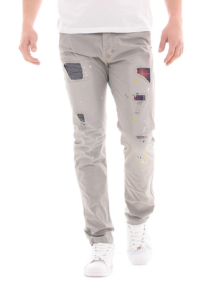 Ανδρικό Chino Παντελόνι Καρώ Patch αρχική ανδρικά ρούχα επιλογή ανά προϊόν παντελόνια παντελόνια chinos