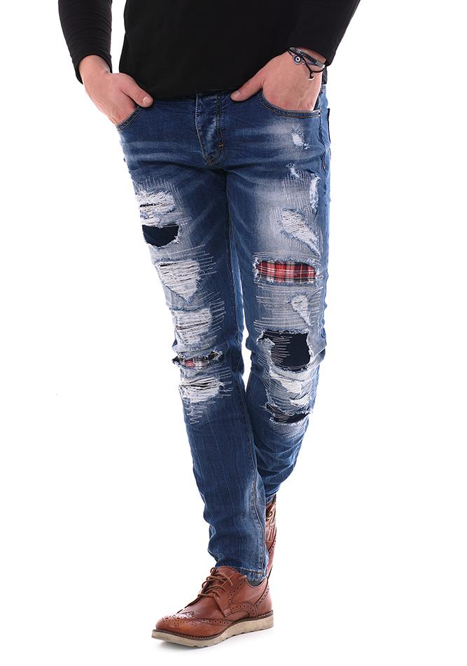 Ανδρικό Jean Enos Red Patch αρχική ανδρικά ρούχα επιλογή ανά προϊόν παντελόνια παντελόνια jeans