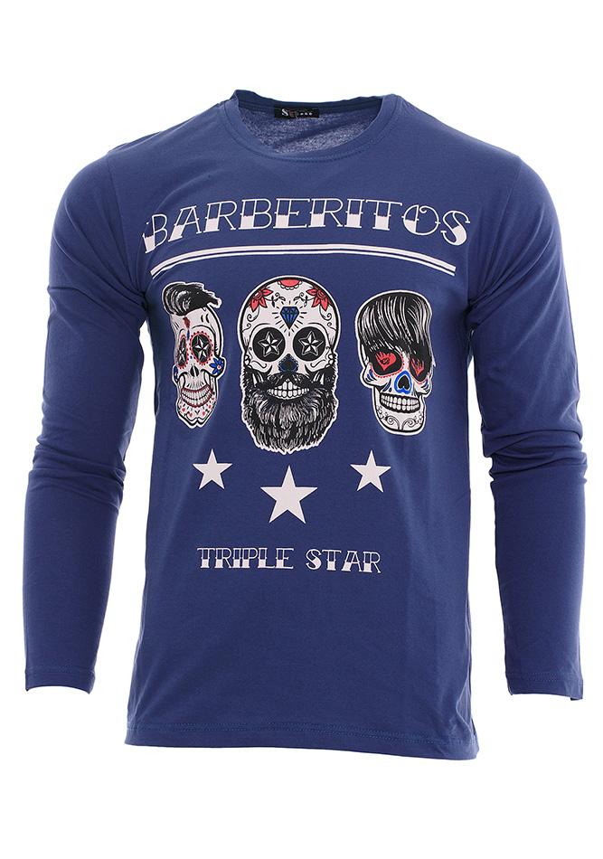 Ανδρική Μπλούζα Barberitos Blue αρχική ανδρικά ρούχα μπλούζες