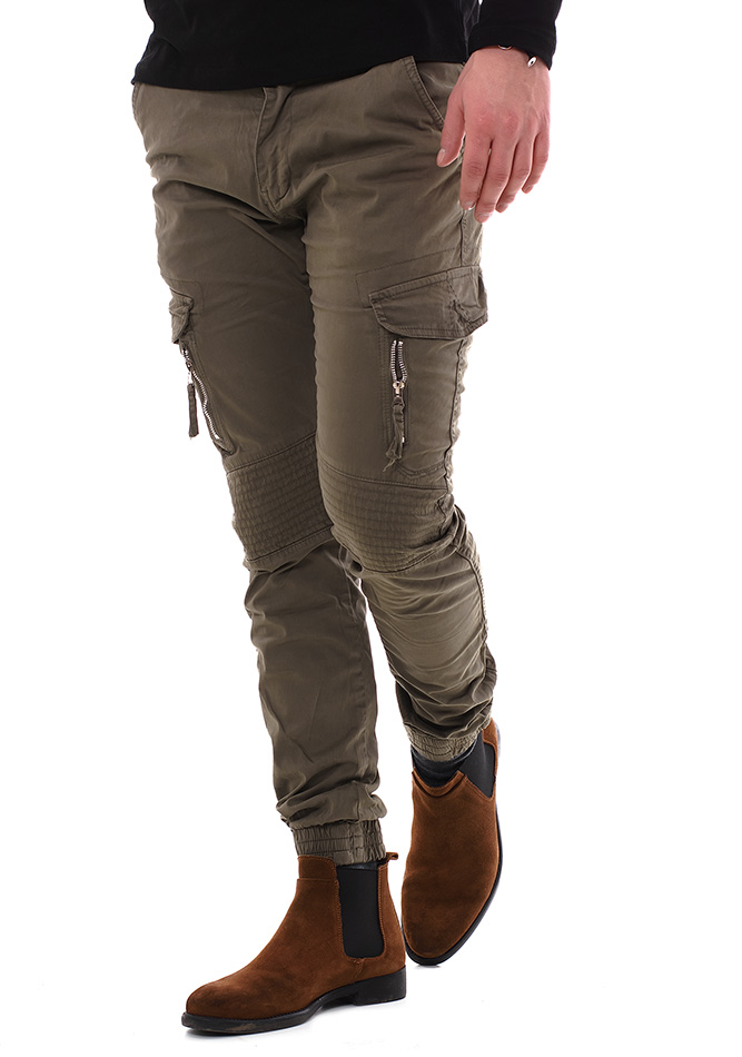 Ανδρικό Chino Παντελόνι X-Feel Army Green αρχική άντρας παντελόνια chinos   cargos