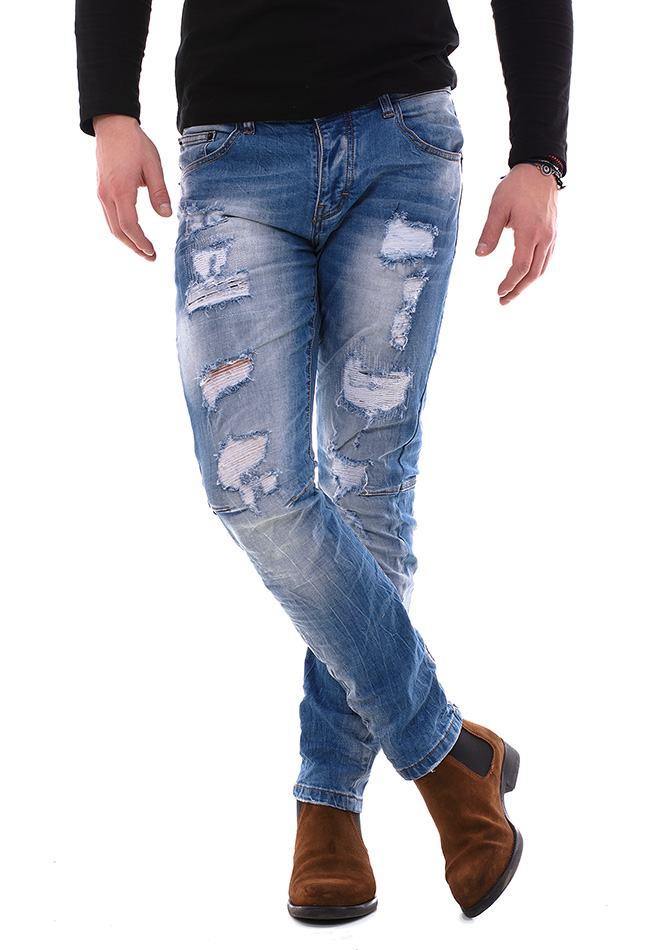 Ανδρικό Jean Παντελόνι Enos Wear White αρχική ανδρικά ρούχα παντελόνια παντελόνια jeans